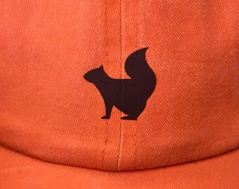 Custom Hat w/ squirrel on orange cotton hat