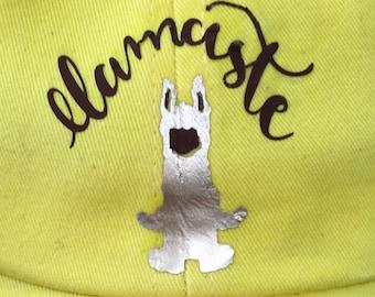Custom Hat w/ llama and llamaste on yellow cotton hat
