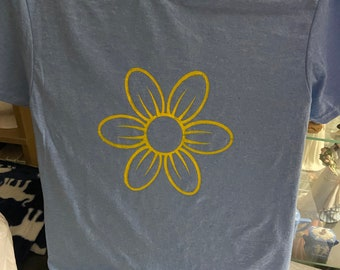 Custom Made T-Shirt with sunflower on it made to order and painted on by me