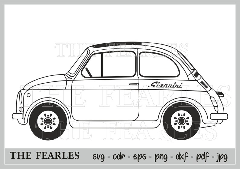 Svg Fiat 500 Giannini Clip Art Vector Fiat 500 Vectorial Zip Digital File Silhouette Figure Svg Dxf Cdr Eps Pdf Png Jpg Fiat 500