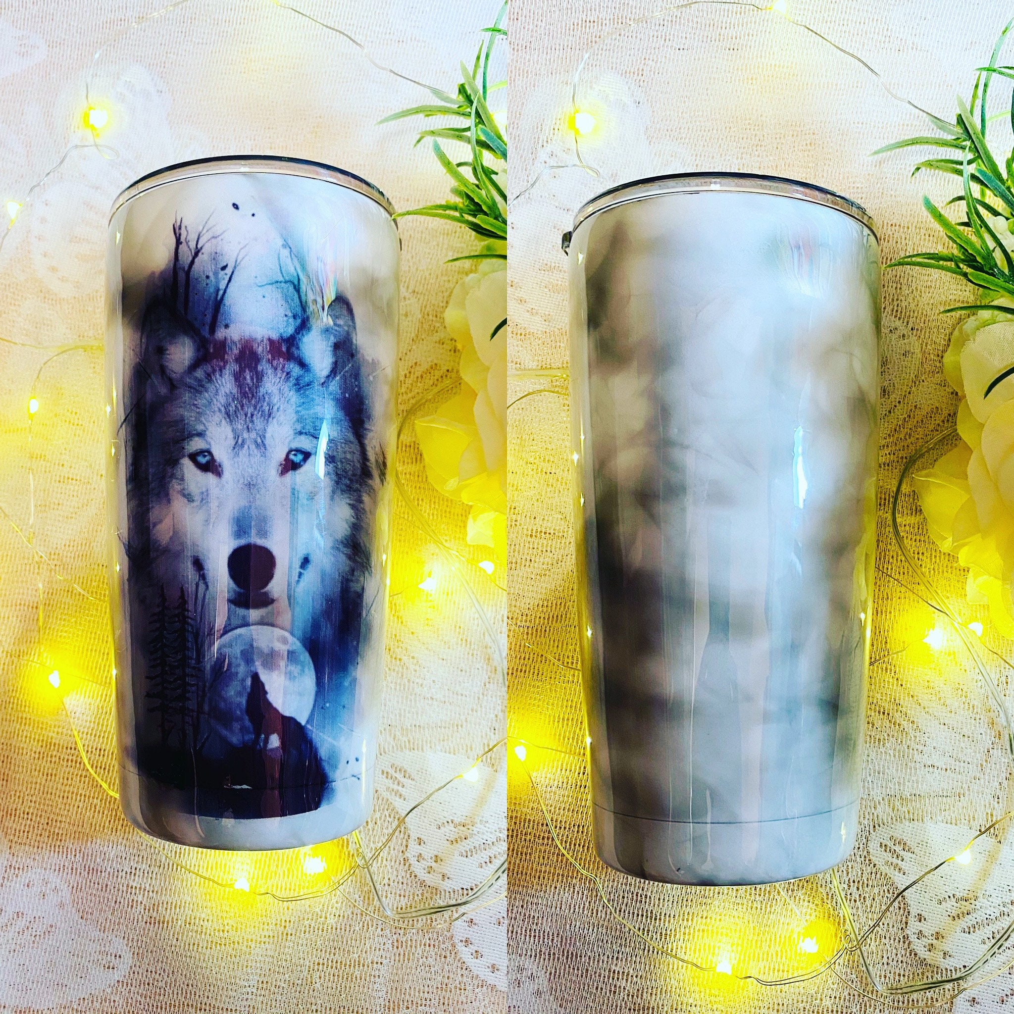 Father/'s Day Gift Full Moon Cup, Present For Him Personalized Custom Hand Painted Woodgrain Wolf Tumbler