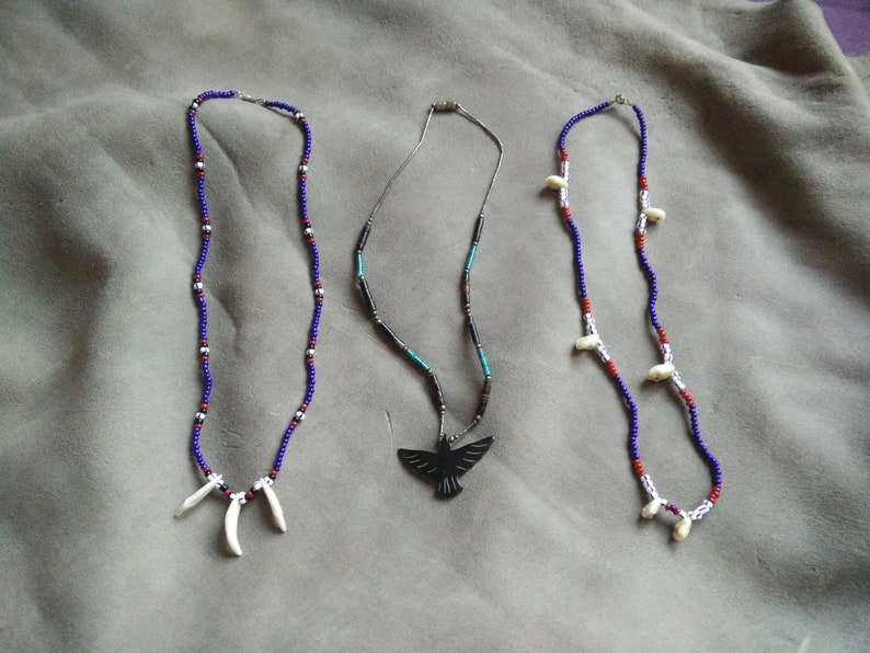 2 Vintage Native American souvenir necklaces howlite glass beads cowries