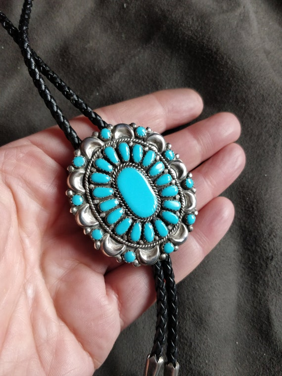 Vintage Zuni or Navajo signed large polished turquoise sterling pendant with sterling chain