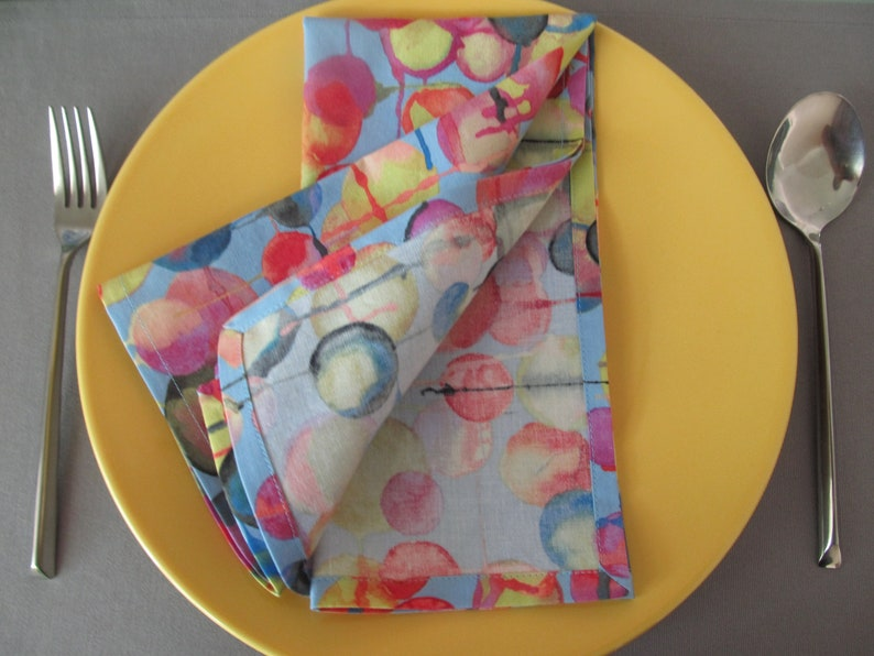 affordable and charming table napkins cotton dinner napkins Set of 4 modern cloth napkins abstract design napkins paperless reusable