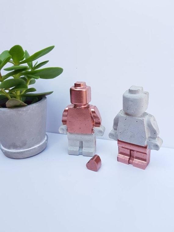 Copper Concrete Lego Man Large Mini figure   Gift   Build your family