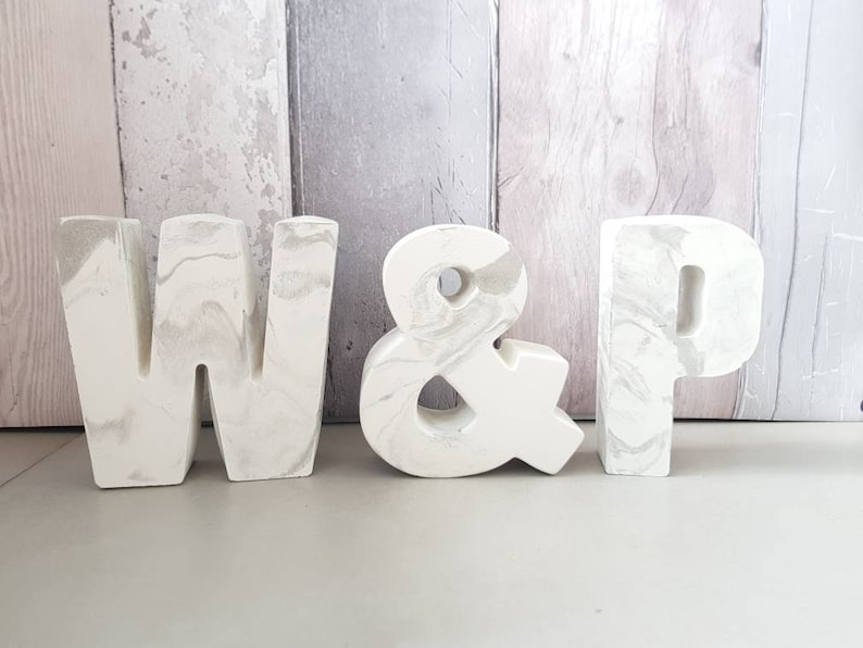 Concrete Ampersand /'/&/' sign in marble effect or Plain concrete