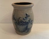 Vintage 1989 Rowe Pottery Works Cambridge Wisconsin Handmade Blue And Gray Stoneware Crock Storage Jar With Blueberry Vine Basket Design