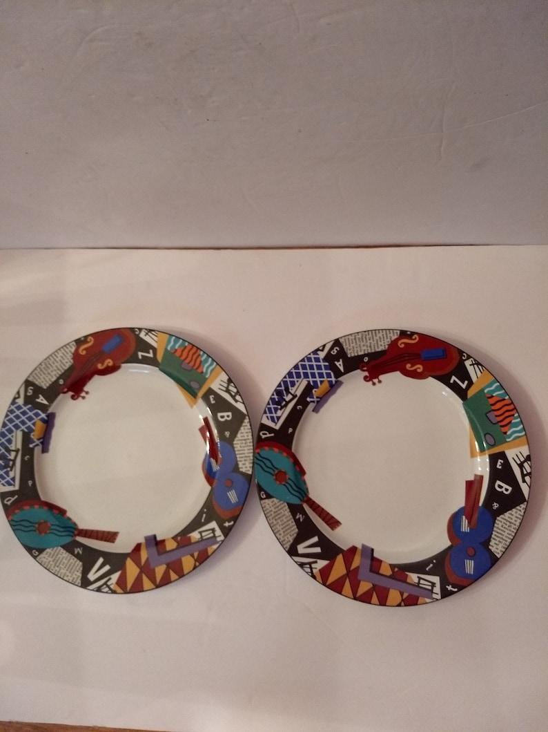 Vintage 1993 Six Piece Set Of Sakura Deborah Mallow Composition #5 Stoneware Includes 2 Dinner Plates,1 Salad Plate /& 2 Bread PlatesSaucers