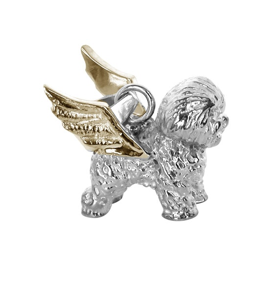 Bichon Frise  Adorable Dog  Charm on Angel Wings Memory Leather Necklace