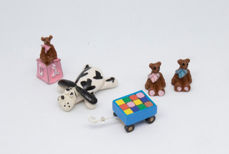 12 Miniature Puppy Dogs Doll House Play
