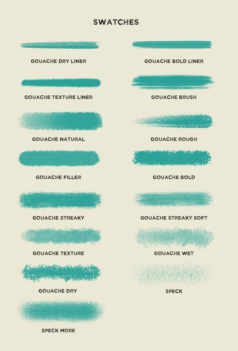 Gouache brushes for procreate / Set of 15 brushes / apple pencil + ipad