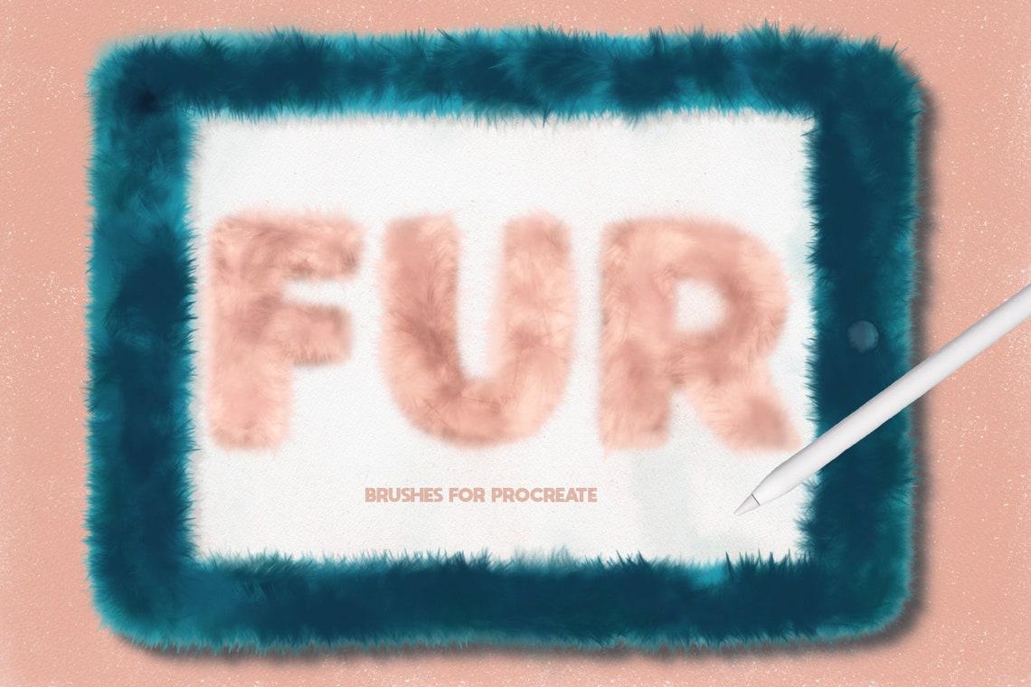 Fur brushes for procreate / Set of 14 brushes / fuzzy texture image 0