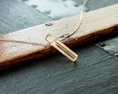 Citrine Pendant Necklace, November Birthstone Gift, Genuine Citrine Crystal Jewelry, Vertical Bar Gemstone Necklace, Gold Filled or Silver