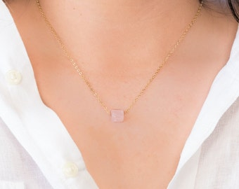 Rose Quartz Necklace Gold,Silver,Gold Filled,Rose Gold Filled Necklace,Custom Jewelry,Jewelry Gift,Personalized Necklace,Schmuck,For her