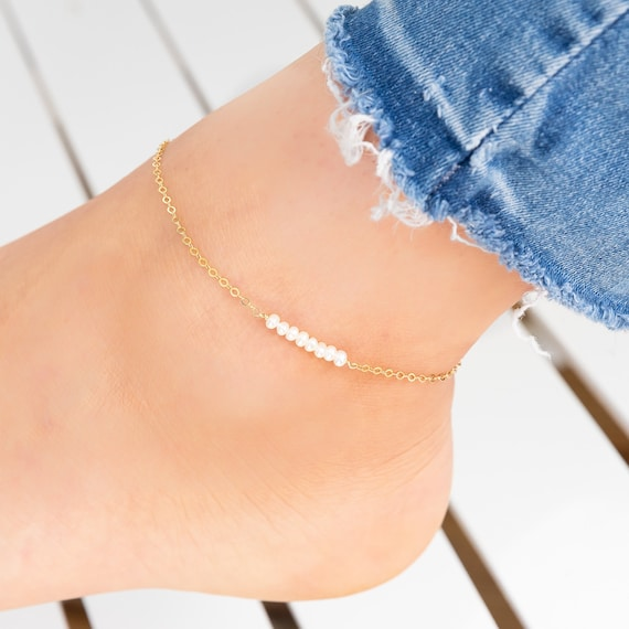 Layered Dainty Apatite and Teal Glass Bead Anklet