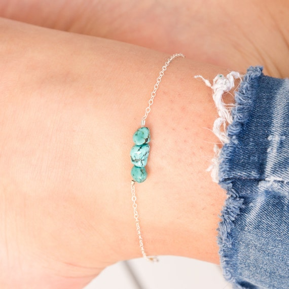 December-Turquoise, Letter O Personalized Sterling Silver Bangle-Tassel Bangle-Initial Letter Bangle