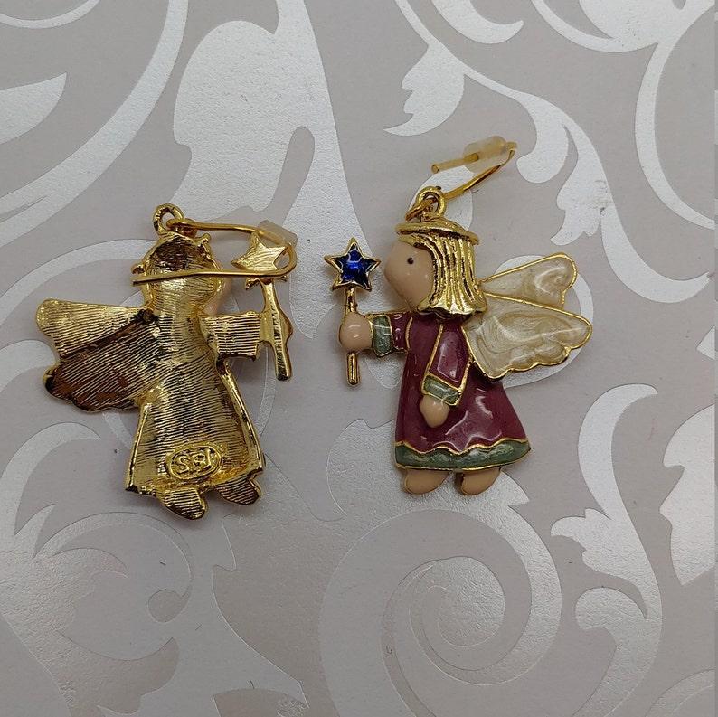 Vintage signed SFJ gold tone enamel tooth fairy angel pierced hook dangle earrings