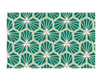 Green geometric cotton fabric
