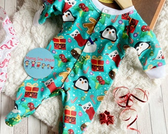 Organic baby Christmas sleepsuit, baby's first Christmas sleepsuit, gingerbread, baby Christmas pyjamas, new baby gift, baby shower gift,