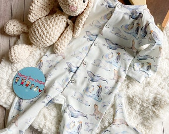 Unisex baby sleepsuit and hat set, new baby gift, baby shower gift, winter baby sleepsuit, baby gift set, baby clothes,