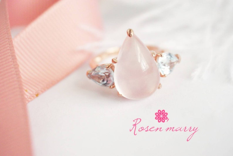 engagement ring Natural Rose quartz and Topaz Ring Silver with rose gold plated gift for her