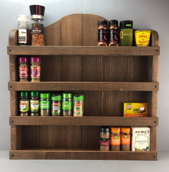 Handmade Rustic Wooden Spice Rack, Kitchen rack, Kitchen Storage, Large