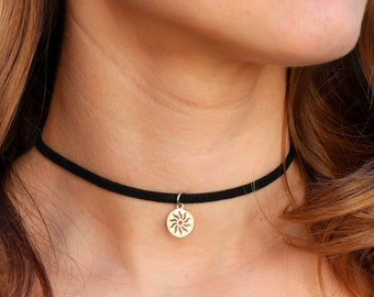 Sun and moon cord necklace Black cord choker Double charm choker Sun and moon choker Boho cord necklace Boho choker Simple choker