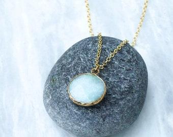 Faceted Amazonite necklace, Dainty Amazonite jewelry, Gold Amazonite pendant, Delicate Amazonite jewelry, Gold round light blue Amazonite.