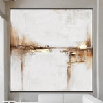 Large Abstract Art Painting On Canvas,Beige Painting Gold Painting,Ocean Landscape Painting,Original Abstract Canvas Wall Art Office Decor