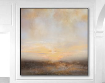 Large Abstract Painting On Canvas,Sunrise Landscape Oil Painting,Ocean Abstract Art,Sea Painting Sky Abstract Painting,Wall Art Office Decor