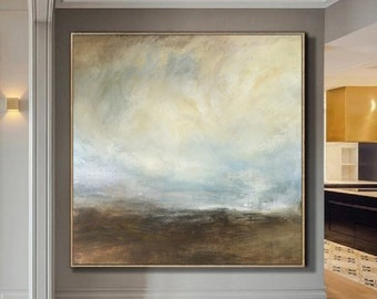 Large Sky Art Painting On Canvas,Original Coastal Landscape Abstract Canvas Painting,Beige White Abstract Painting,Sky Landscape Painting