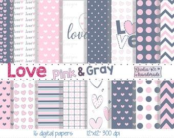16 pack, love digital paper download, love stamp, scrapbooking, love pink decorations, heartprint