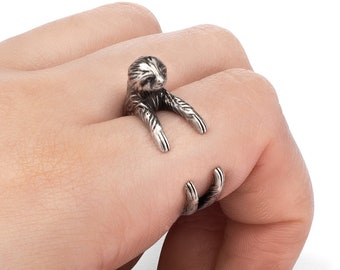 Sloth Ring, Adjustable Ring, Animal Jewelry, Animal Ring, Animal Lovers, Animal Gift