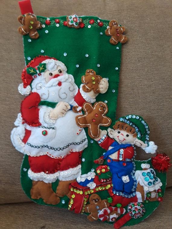 Making Christmas Stocking.Santa Making Cookies Christmas Stocking