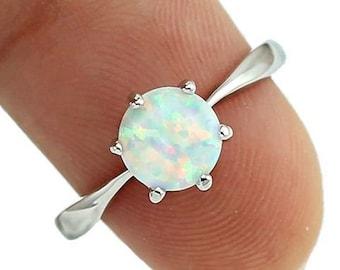 75fa6f431f White Fire Ring stone Opal CZ Women Claw Inay Fashion Jewelry Opal Ring Size  6 7 8 9 10 23w