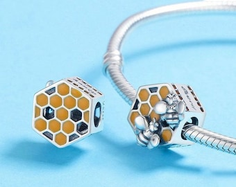 dfad63142 Authentic Pandora 925 Sterling Silver Charm Honeycomb honey bee charm for  bracelet
