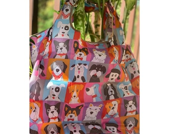 bag for life Dogs paws Big grocery tote bag handmade unique only one for dog lover shopping bag canvas bag