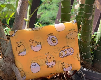 Eco Foldable Shopping Bag Hawaiian style Reusable Grocery Recycle Tote Bag with Handles Large Gudetama in yellow