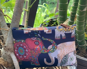 Eco Foldable Shopping Bag Hawaiian style Reusable Grocery Recycle Tote Bag with Handles Large Elephant blue