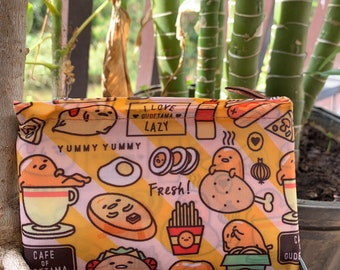 Gudetama recycle bag Eco Foldable Shopping Bag Hawaiian style ;Reusable Grocery Recycle Tote Bag with Handles Large