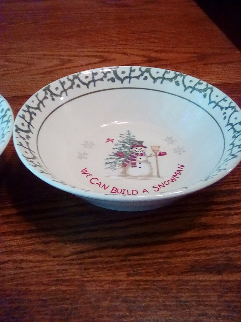 We can build a snowman  stone ware set of 2 large bowls