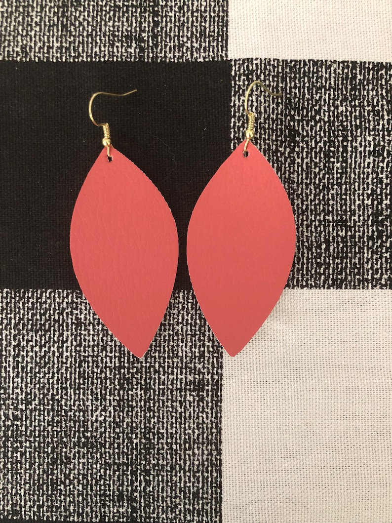 Coral Faux Leather Pinched style or leaf style Earrings