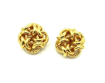 3d3b472fe55 Classic Gold Knots Bijoux Cascio Vintage Earrings | Shiny & Textured  Interlinked Knots Statement Designer Clip On Earrings | 80's Jewelry