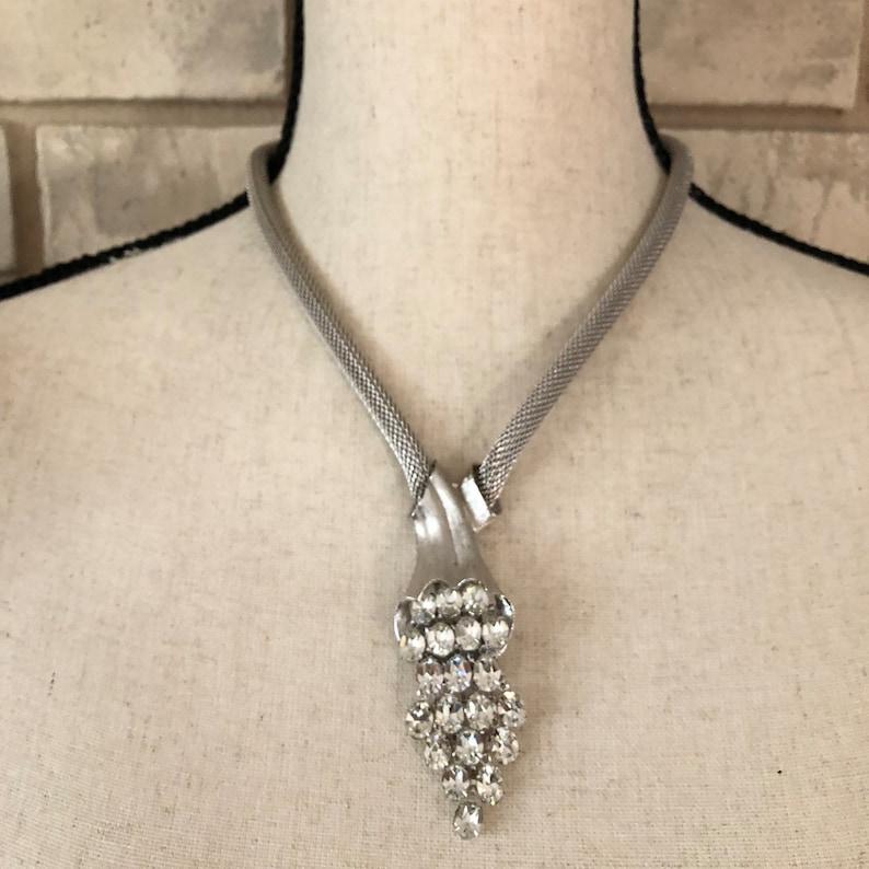 Mid-Century Necklace Large Oval Rhinestones Designer Quality Statement Earrings Vintage Silver Mesh Rhinestone Waterfall Jewelry Set