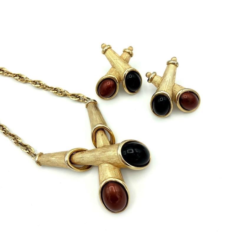 Emmons Gold Modernist Vintage Jewelry Set Mid-Century Boho Black /& Brown Cabochon Designer Statement Necklace Earrings