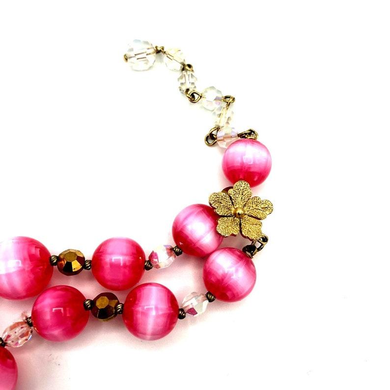 Feminine Large Round Beads Feminine Designer Signed Mid-Century Strand Necklace Vintage Vendome Pink Lucite Crystal Bead Necklace