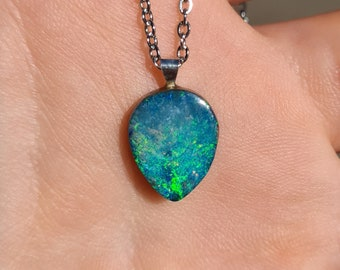 Genuine Coober Pedy Opal Doublet Pendant with Ceramic backing C9