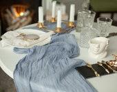 Gauze table runner, Dusty blue wedding gauze runner bridal shower runner table centerpiece, cheesecloth runner wedding decorations
