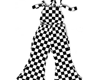 Infants and toddlers Checkered bell bottoms overalls