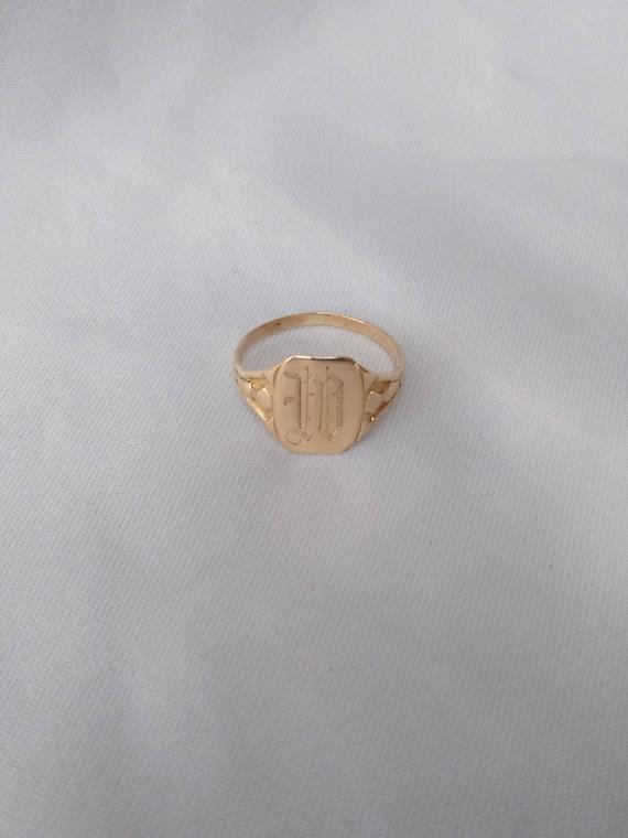 W Initial Vintage Signet 10k Yellow Gold Ring, Siz
